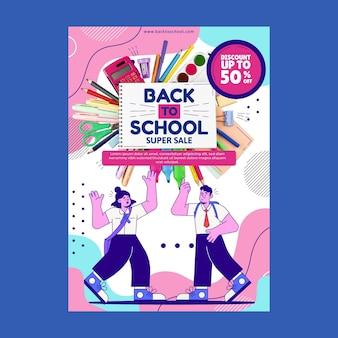 Zurück zur schule vertikale verkaufs-flyer-vorlage mit foto