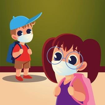 Zurück zur schule von mädchen und jungen mit medizinischen masken und hut, sozialem abstand und bildungsthema