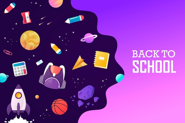 Zurück zur schule weltraumraketenplaneten und das universum vorlage für bannerpräsentation landing sale poster