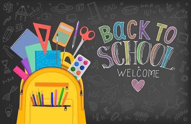 Zurück zur schule willkommen offener schulrucksack voller schreibwaren