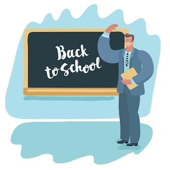 Zurück zur schullehrerin, die ihren schülern unterrichtet