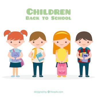 Zurück zur schulzusammensetzung mit flachen kindern