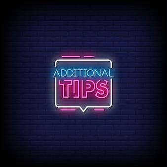 Zusätzliche tipps neon signs style text