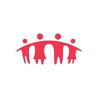 Zusammen familie elternteil und kinder brücke logo vektor icon illustration