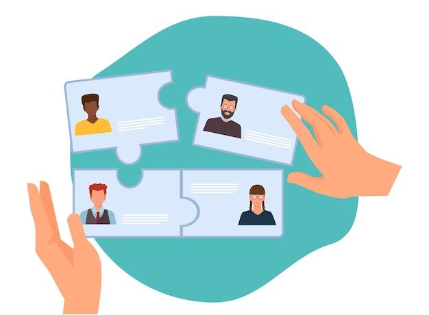 Zusammenarbeit im geschäft. neue teambildung, hr stellt mitarbeiter ein. personalvermittlungsagentur-vektor-illustration. zusammenarbeit von geschäftsteams, rekrutierung und partnerschaft