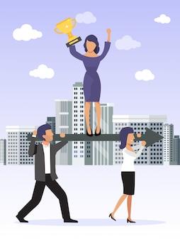 Zusammenarbeit, koordination und geschäftsentwicklung. business-teamleiter hält einen goldenen becher, steht auf pfeil, der von seinen arbeitern getragen wird