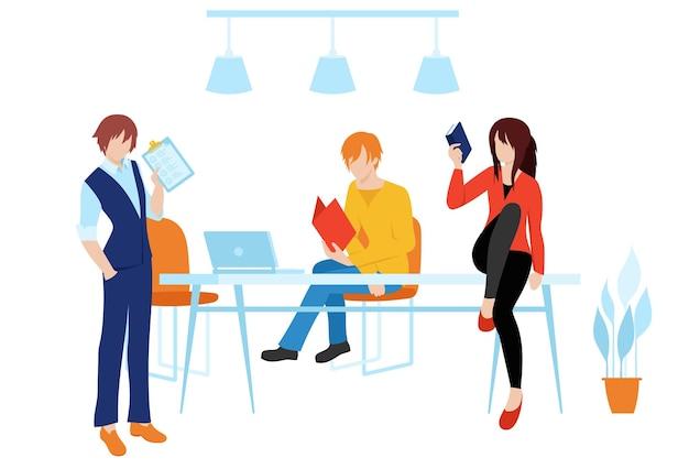 Zusammenarbeit mit den mitarbeitern an der arbeit und dem konzept. zusammenarbeit einer gruppe von personenvektoren.