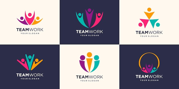 Zusammenarbeit mit drei personen. konzept der teamarbeit und des logos für großartige arbeit work