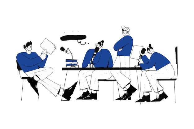 Zusammenarbeit podcast interview community illustration
