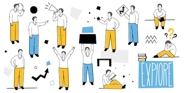 Zusammenarbeit. set mit menschen bei der arbeit. flacher stil. verschiedene posen, aktivitäten