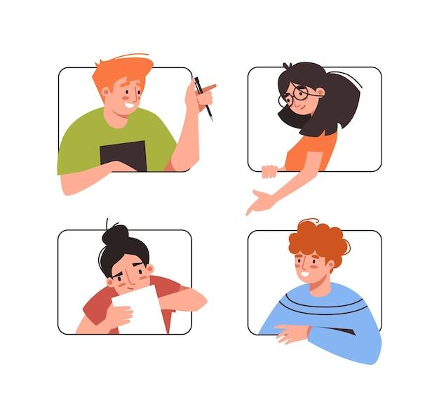Zusammenarbeit über videokonferenzen mann und frau im online-video-chat