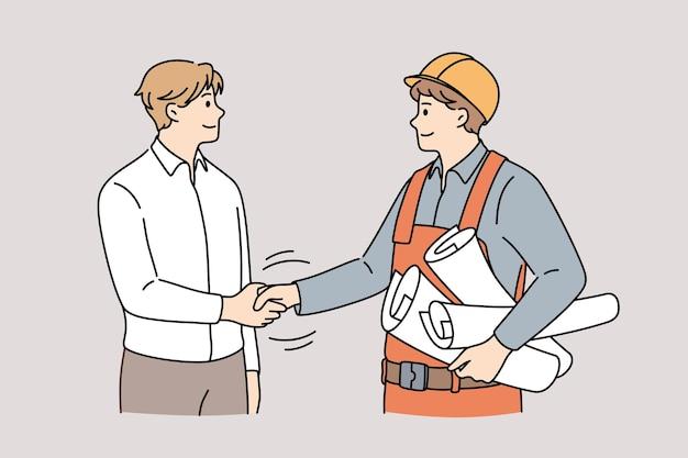 Zusammenarbeit zwischen management und ingenieurkonzept. junge lächelnde männer ingenieur konstrukteur und manager kunde stehen händeschütteln nach erfolgreicher zusammenarbeit vektor-illustration