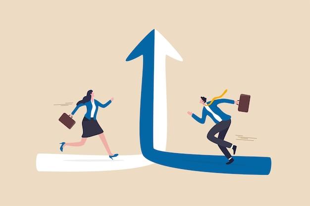 Zusammenarbeitssynergien arbeiten zusammen, um gemeinsam zu wachsen, gemeinsame allianz oder fusion und übernahme, team- und partnerschaftskonzept, geschäftsmann und frau, die laufen, um die richtung zusammenzuschließen, um das ziel zu erreichen.