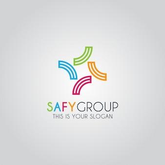 Zusammenfassung bunte gruppe logo-vorlage