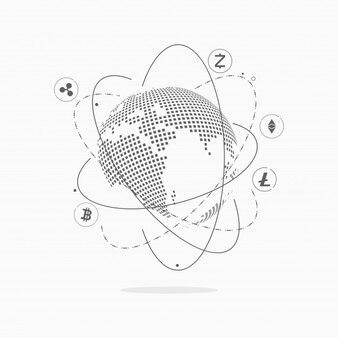 Zusammenfassung Cryptocurrency Blockchain Technologie Hintergrund.