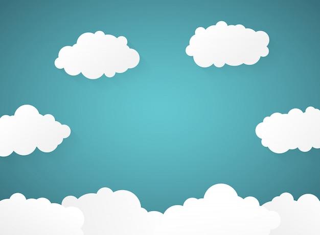 Zusammenfassung des blauen himmels der steigung mit wolkenpapier schnitt hintergrund.