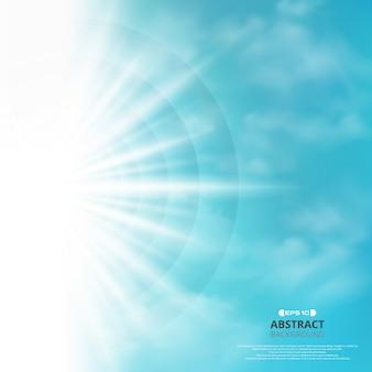 Zusammenfassung des blauen himmels mit sonne sprengte im seitenhintergrund.