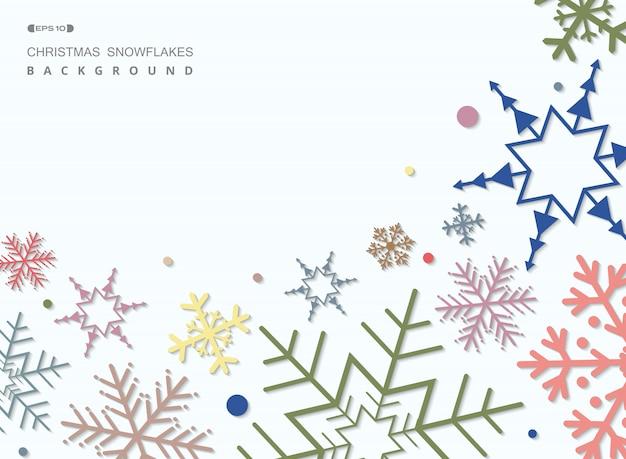 Zusammenfassung des bunten weihnachtsschneeflockenmusterhintergrundes