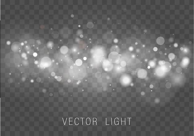Zusammenfassung des leuchtenden bokeh-lichteffekts des gelben weißgoldlichts lokalisiert auf transparentem hintergrund. festlicher lila und goldener leuchtender hintergrund. konzept. verschwommener lichtrahmen.