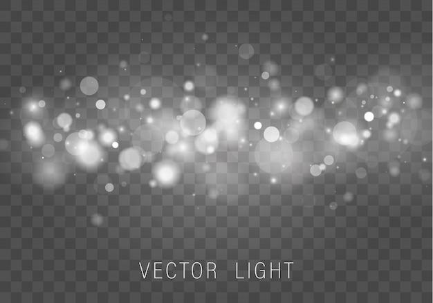 Zusammenfassung des leuchtenden bokeh-lichteffekts des gelben weißgoldlichts lokalisiert auf transparentem hintergrund. festlicher lila und goldener leuchtender hintergrund.
