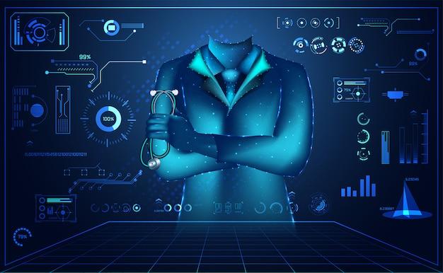 Zusammenfassung doctor wireframe digital- und hologrammschnittstelle medical
