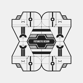 Zusammenfassung futuristische design-element vorlage. nützlich für wissenschaftliche plakate und hightech-medien. isoliert auf weißem hintergrund.