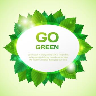 Zusammenfassung gehen vektorillustration mit blättern grün