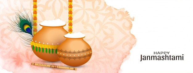 Zusammenfassung happy janmashtami religiöses festival banner