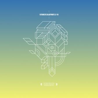 Zusammenfassung hintergrund mit blauen und gelben farbverlauf und 3d-zusammensetzung