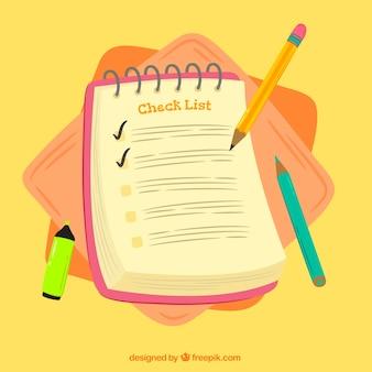 Zusammenfassung hintergrund mit checkliste und bleistifte