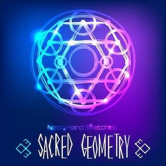 Zusammenfassung hintergrund mit hand gezeichnet heilige geometrie neonlicht vektor-illustration