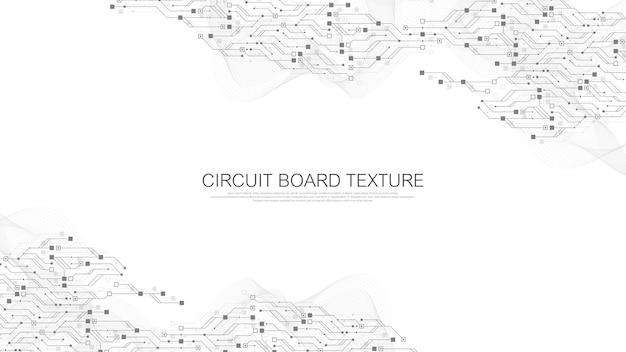 Zusammenfassung hintergrund mit high-tech-technologie textur leiterplattenbeschaffenheit. abstrakte leiterplatten-banner-tapete. vektorillustration des elektronischen motherboards
