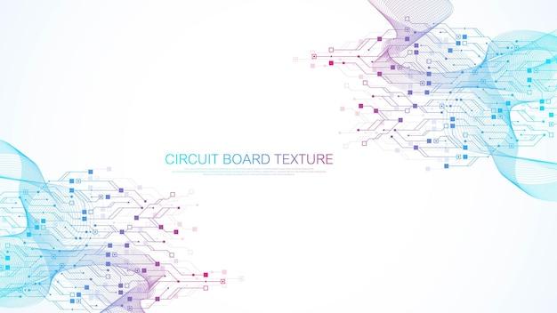 Zusammenfassung hintergrund mit high-tech-technologie textur leiterplattenbeschaffenheit. abstrakte leiterplattenfahnentapete. elektronische motherboard-vektor-illustration.