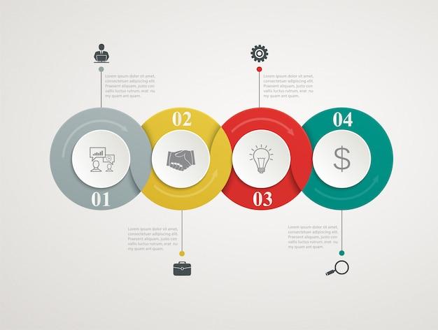 Zusammenfassung kreist die teile ein, die mit schrittweiser struktur infographic sind. vorlagendiagramme, präsentation und diagramm