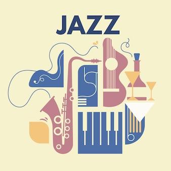 Zusammenfassung mit line art jazz und musikinstrument