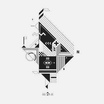 Zusammenfassung monochrome kreatur auf weißem hintergrund. stil des kubismus und konstruktivismus. nützlich für drucke und plakate.