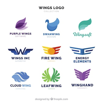 Zusammenfassung sammlung von flügel logos