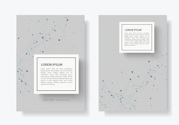Zusammenfassung schließen broschüre mit verbundenen linien und punkten an
