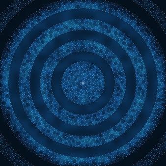 Zusammenfassung vektor mesh hintergrund. chaotisch verbundene punkte und polygone, die im weltraum fliegen. fliegende trümmer futuristische technologie-style-karte. linien, punkte, kreise und flugzeuge. futuristisches design.