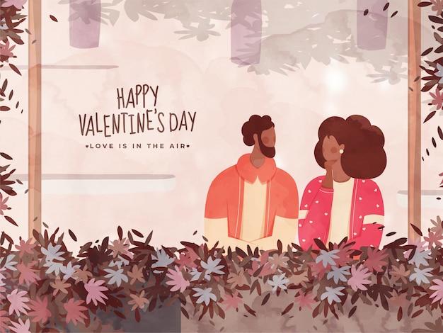 Zusammenfassungs-blätter verzierten grenzaquarell mit gesichtslosem paar-charakter für glücklichen valentinstag, liebe ist in der luft.