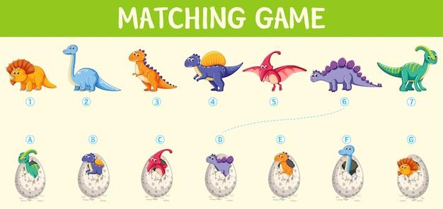 Zusammenpassendes dinosaurierzahlarbeitsblatt