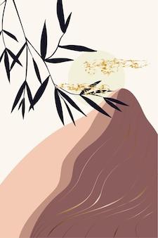 Zusammensetzung abstrakter formen und botanischer elemente im stil des minimalismus handgezeichnet Premium Vektoren