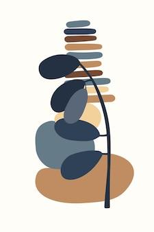 Zusammensetzung abstrakter formen und botanischer elemente im stil des minimalistischen handgezeichneten posters