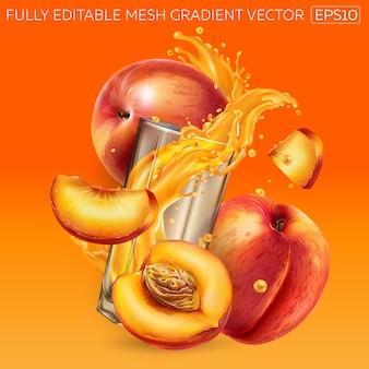 Zusammensetzung aus frischen pfirsichen und einem glas mit einem dynamischen spritzer fruchtsaft.