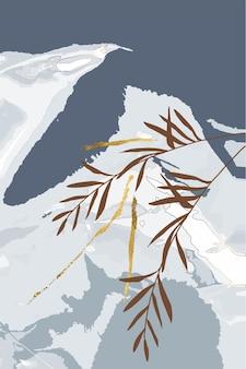 Zusammensetzung der abstrakten formen hinterlässt goldene linien winter grauen hintergrund minimalismus hand gezeichnet