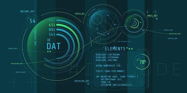 Zusammensetzung der computer-hud-schnittstelle mit codierung.