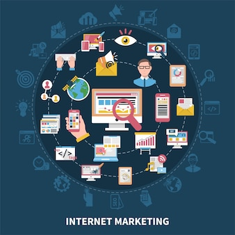 Zusammensetzung der internet-marketing-runde