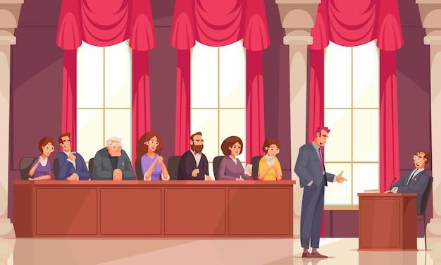 Zusammensetzung der jurymitgliedschaft mit kritzeleien menschlicher charaktere von anwälten und mitgliedern der prozessjury in der sitzung