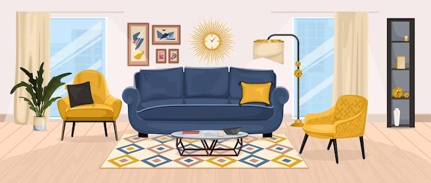 Zusammensetzung der möbel mit blick auf das wohnzimmer mit fenstern, weichen sesseln, sofa