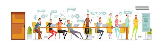 Zusammensetzung der spieleentwicklungssitzung